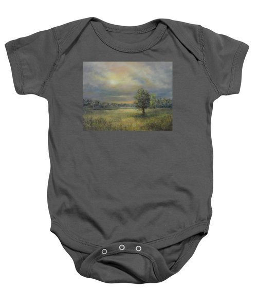 Landscape Of A Meadow With Sun And Trees Baby Onesie