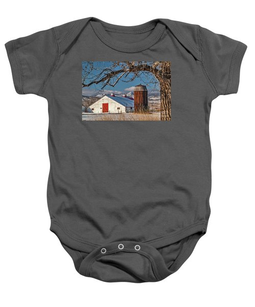 Large White Barn With Silo Baby Onesie