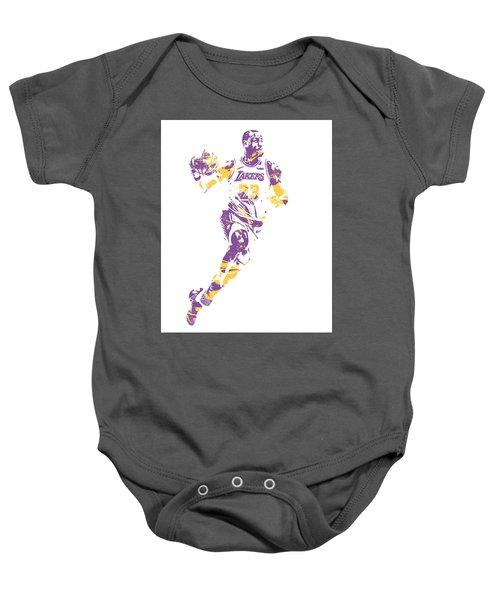 32cb2bc51428 Lebron James Los Angeles Lakers Pixel Art 2 Baby Onesie