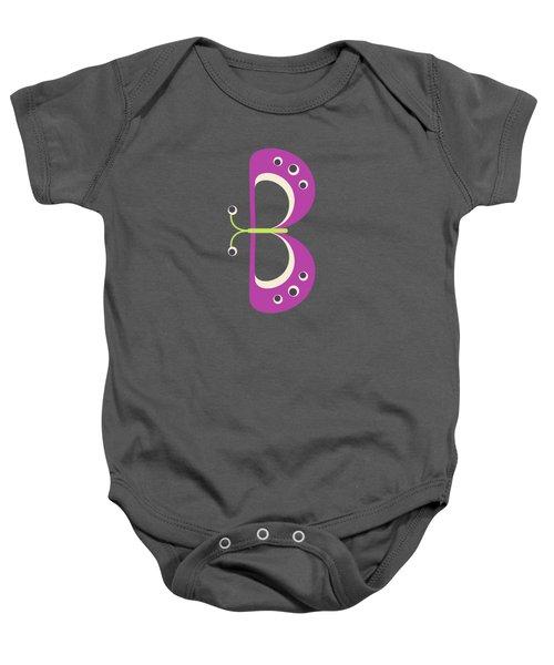 Letter B - Animal Alphabet - Butterfly Monogram Baby Onesie