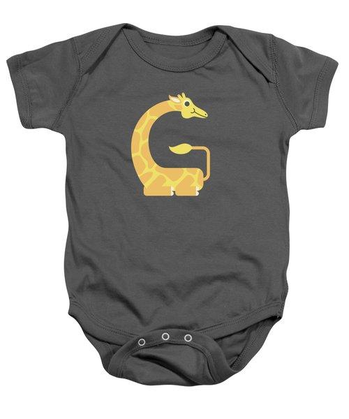 Letter G - Animal Alphabet - Giraffe Monogram Baby Onesie