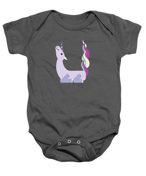 Letter U - Animal Alphabet - Unicorn Monogram Baby Onesie
