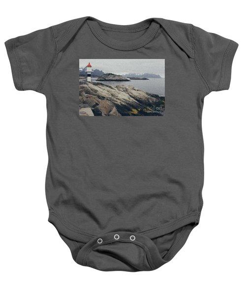 Lighthouse On Rocks Near The Atlantic Coast, Digital Art Oil Pai Baby Onesie