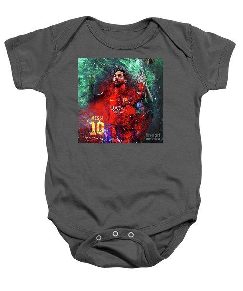 Lionel Messi In Barcelona Kit Baby Onesie