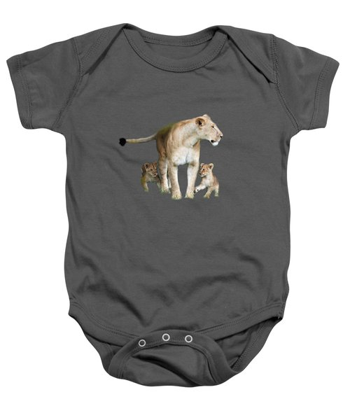 Lioness And Her Cubs Playing  Baby Onesie