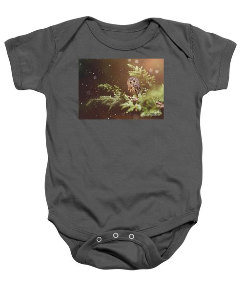 Baby Onesie featuring the mixed media Little Owl by Morag Bates