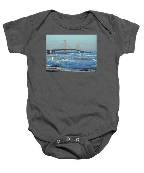 Mackinac Bridge In Ice 2161801 Baby Onesie