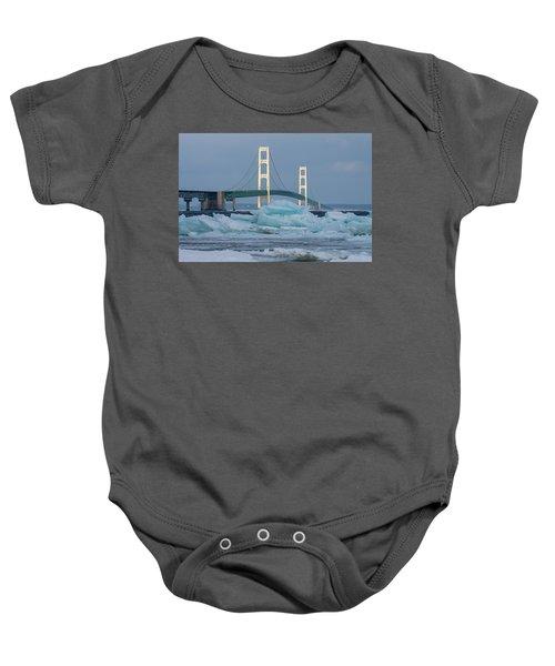 Mackinac Bridge In Ice 2161809 Baby Onesie