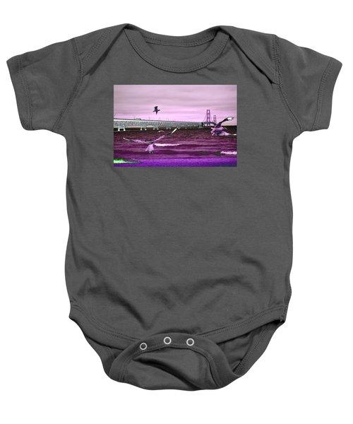 Mackinac Bridge Seagulls Baby Onesie