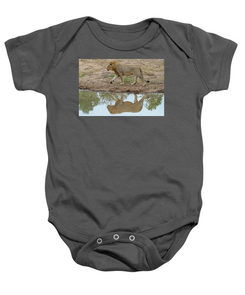 Male Lion And His Reflection Baby Onesie