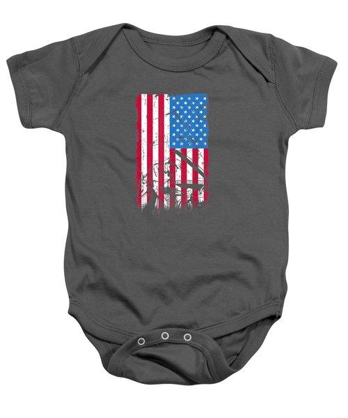 Mechanic American Flag Patriotic Mechanic Job  T-shirt Baby Onesie