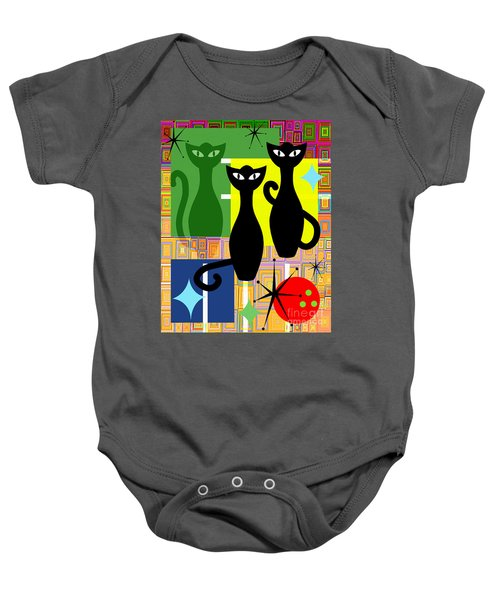 Mid Century Modern Abstract Mcm Bowling Alley Cats 20190113 V2 Baby Onesie