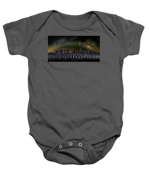 Milky Way Arch Over Chinese Temple Roof Baby Onesie