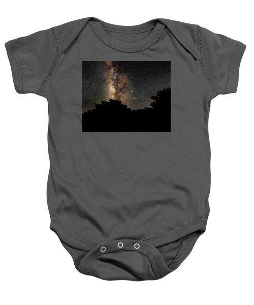 Milky Way Over The Dark Temple Baby Onesie