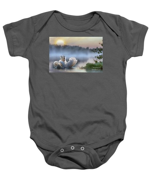 Baby Onesie featuring the mixed media Misty Swan Lake by Morag Bates