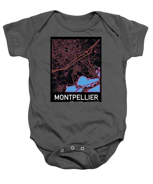 Montpellier City Map Baby Onesie