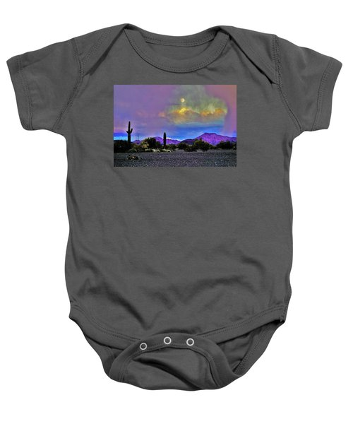 Moon At Sunset In The Desert Baby Onesie