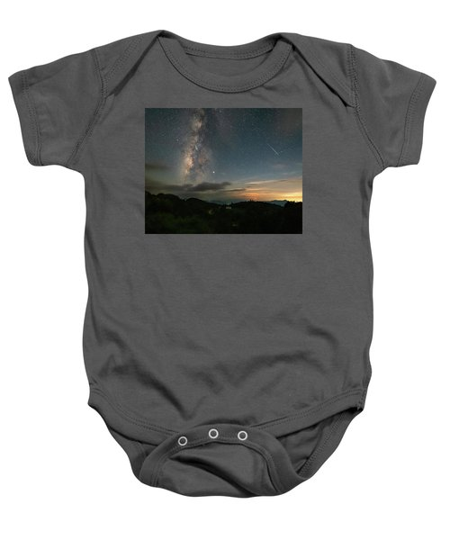 Moonset Milky Way And Shooting Star Baby Onesie