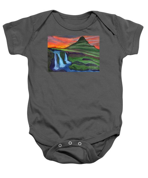 Mountain And Waterfall In The Rays Of The Setting Sun Baby Onesie