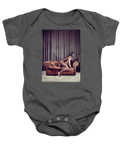 Naked Man With Mask On A Sofa Baby Onesie