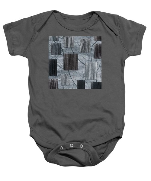 Neutral Toned Leaf Square Print Baby Onesie