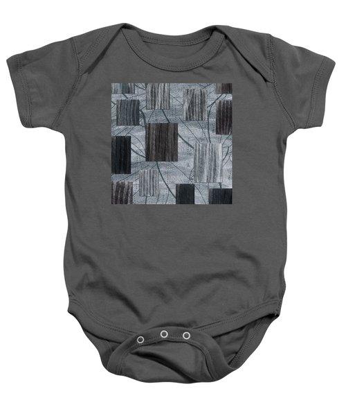 Neutral Toned Leaf Square Print Baby Onesie