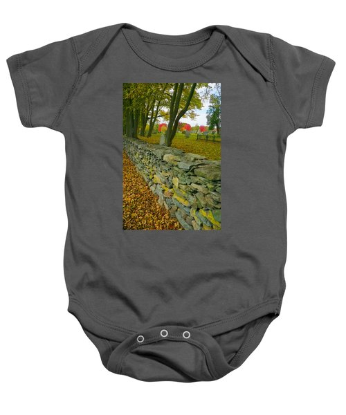 New England Stone Wall 2 Baby Onesie