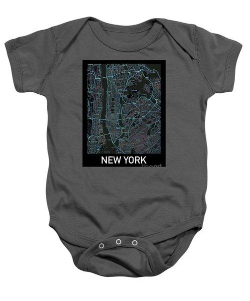 New York City Map Black Edition Baby Onesie