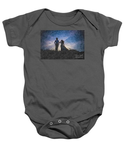 Newlywed Couple After Their Wedding At Sunset, Digital Art Oil P Baby Onesie