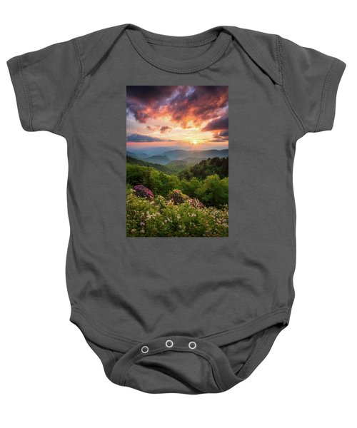 North Carolina Great Smoky Mountains Sunset Landscape Cherokee Nc Baby Onesie