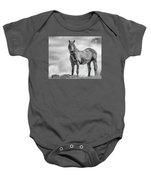 Baby Onesie featuring the photograph On The Ridge by Mary Hone