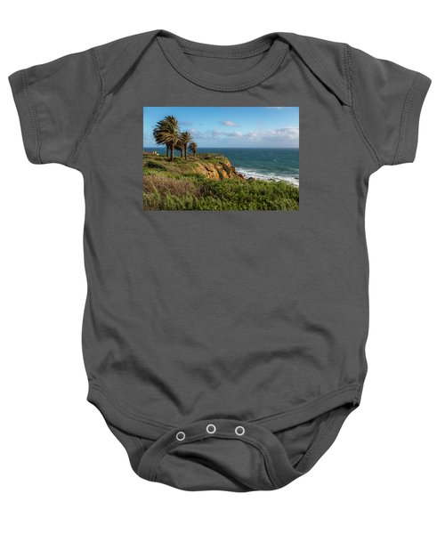 Palm Trees Blowing In The Wind Baby Onesie