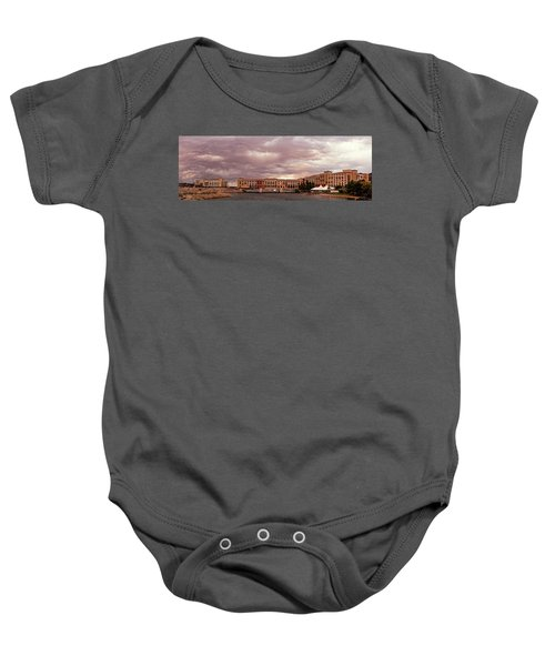 Panorama Of Ominous Storm Clouds Over Lake Las Vegas - Henderson Nevada  Baby Onesie