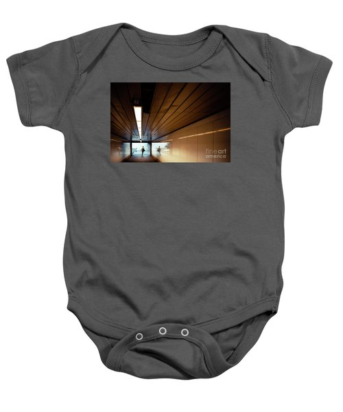 Passengers In A Hurry At The End Of A Tunnel At The Entrance To The Metro Station. Baby Onesie