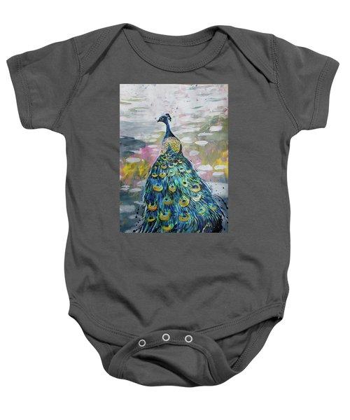Peacock In Dappled Light Baby Onesie