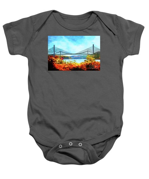 Penobscot Narrows Bridge In Autumn Baby Onesie