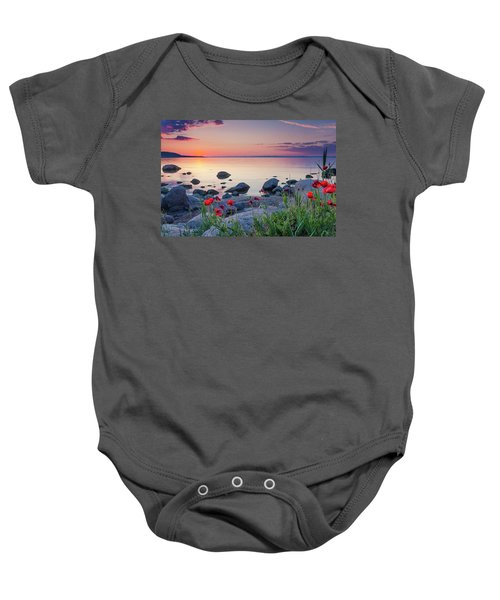 Poppies By The Sea Baby Onesie