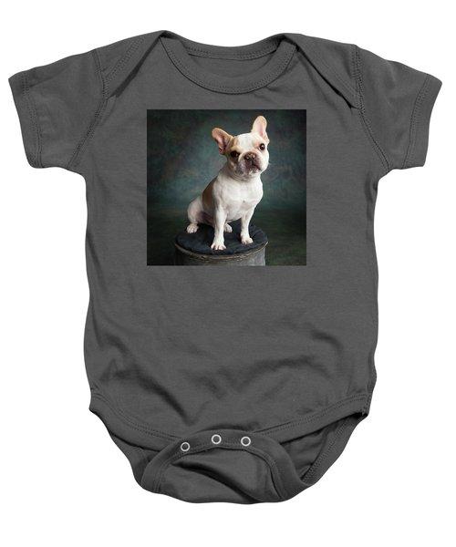 Portrait Of A French Bulldog Baby Onesie