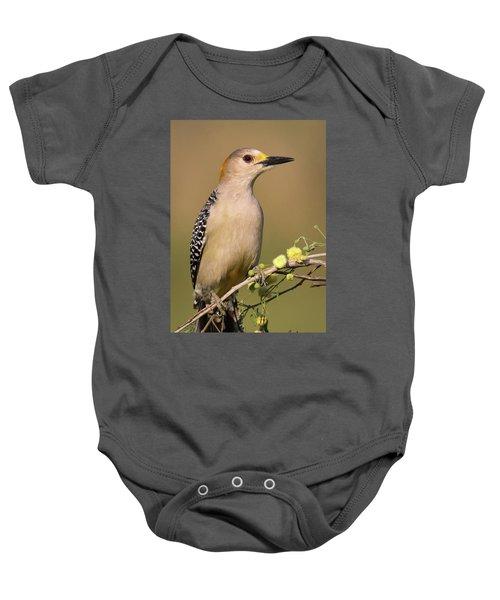 Portrait Of A Golden-fronted Woodpecker Baby Onesie
