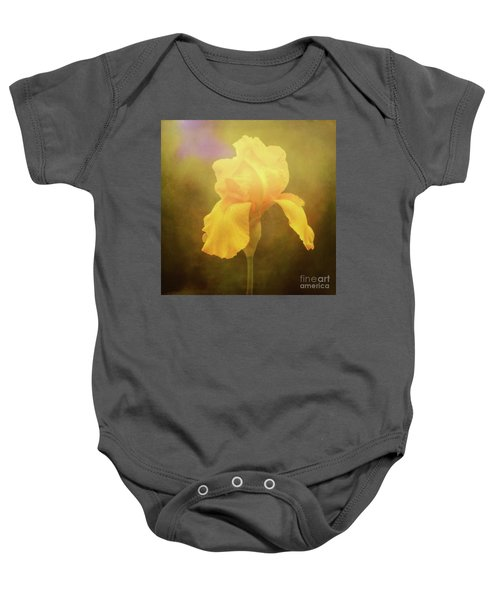 Radiant Yellow Iris With A Vintage Touch Baby Onesie