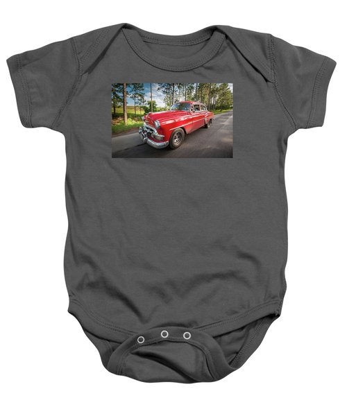 Red Classic Cuban Car Baby Onesie