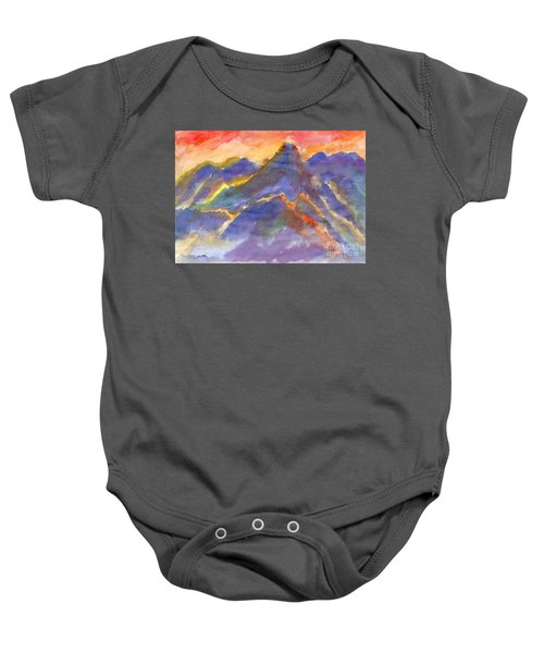 Red Sunset In The Mountains Baby Onesie