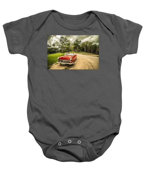 Red Vintage Car Baby Onesie