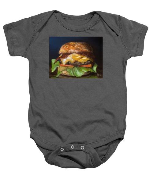 Baby Onesie featuring the pastel Renaissance Burger  by Fe Jones