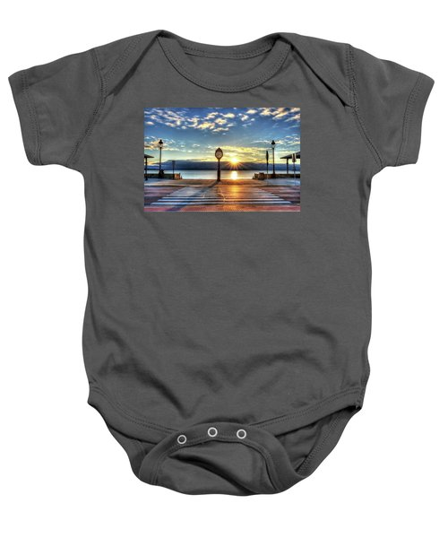 Revere Beach Clock At Sunrise Angled Long Shadow Revere Ma Baby Onesie