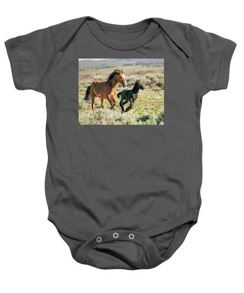 Running Wild Mustangs - Mom And Baby Baby Onesie