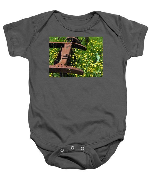 Rusted Wagon In A Field Of Flowers Baby Onesie