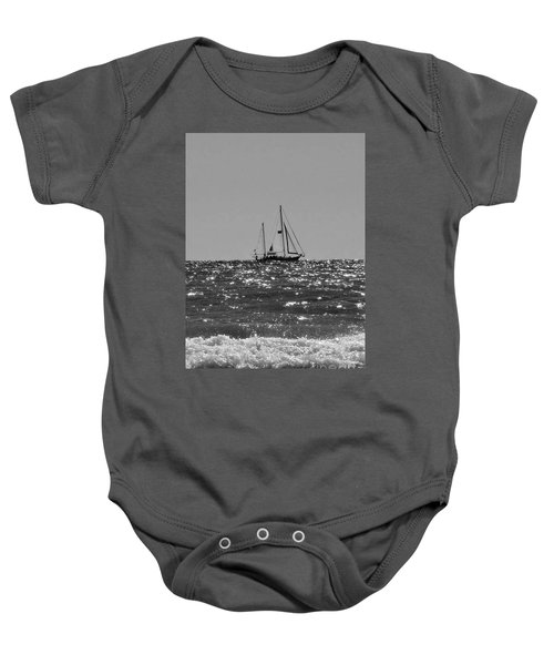 Sailboat In Black And White Baby Onesie