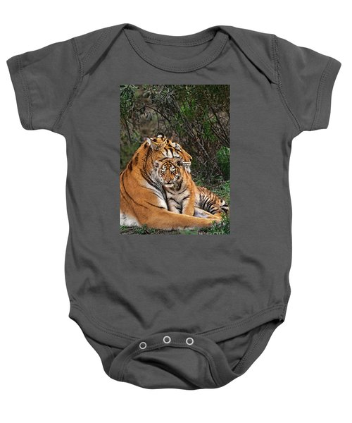 Siberian Tiger Mother And Cub Endangered Species Wildlife Rescue Baby Onesie