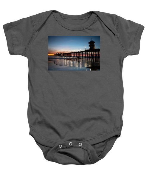 Silhouette Of Surfer At Huntington Baby Onesie